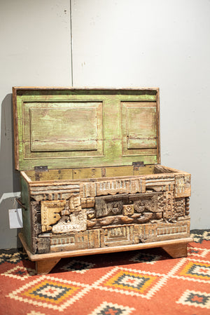 Green recycled door Chest