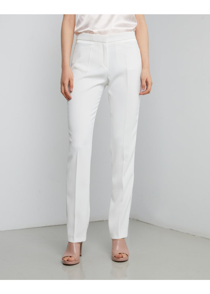PANTALON SMOCKING DETAIL SATIN -  BLANC CASSE