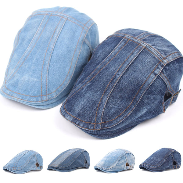 2020 Autumn Jeans Beret Hat for Men Women Casual Unisex Denim Beret Cap Fitted Sun Cabbie Flat Cap Gorras