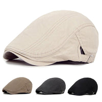 Men Casual Classic Solid Color Flat Cabbie Newsboy Ivy Hat Cotton Sun Beret Cap