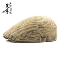 Fashion  Men Women Flat Cap Mesh Summer Golf Driving Sun Beret Cabbie hat Breathable French Style 7 colors