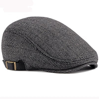 HT2888 Berets Men High Quality Autumn Winter Wool Hat Striped Ivy Newsboy Flat Cap Artist Painter Hat Male Adjustable Beret Cap