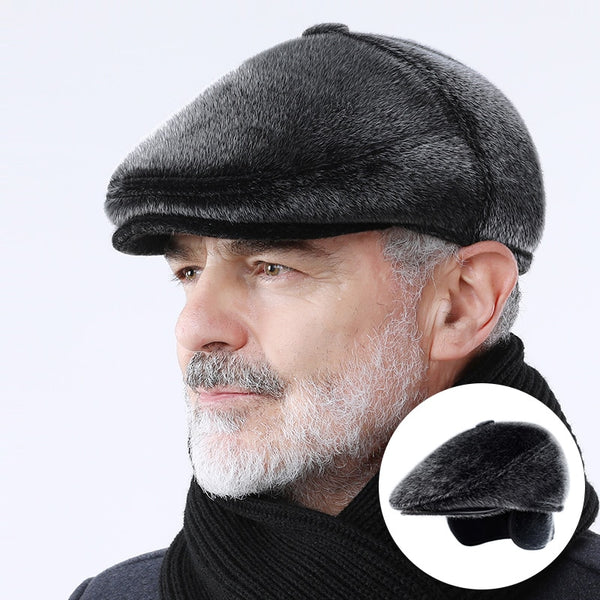 Winter Faux Fur Newsboy Hat With Earflaps Beret Dad Hat for The Elderly Peaked Cap Winter Warm Hats for Old Men Flat Cap