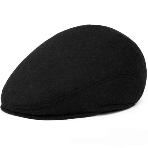 HT1405 Warm Winter Hats with Ear Flap Men Retro Beret Caps Solid Black Wool Felt Hats for Men Thick Forward Flat Ivy Cap Dad Hat