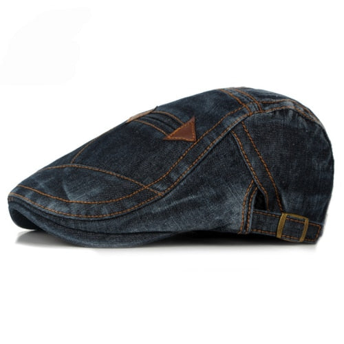 HT1195 Fashion Spring Summer Jeans Beret Hats for Men Women Quality Casual Unisex Denim Beret Cap Fitted Sun Cabbie Ivy Flat Cap