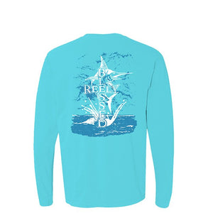 Reely Blessed Long Sleeve T-Shirt Lagoon Blue