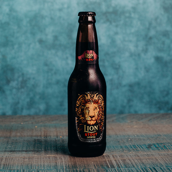 Lion Stout 330ml, Dark caramel in colour, this stout is unique due to its sweet notes of chocolate and coffee interspersed into a foundation of dark roasted barley.