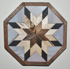 Amish barn quilt wall art in black, wood, and gray tones