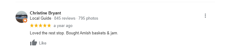 Google review of Amish jams and baskets