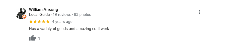 Google review of Amish Country Store