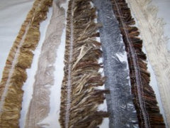 Selvage fabric samples for Amish rug making
