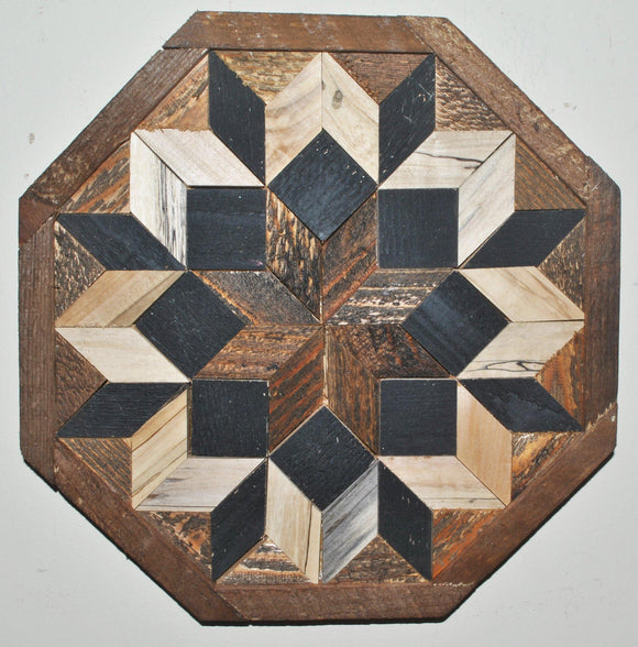 Black and wood squares and diamonds create a blooming flower design with rustic farmhouse look