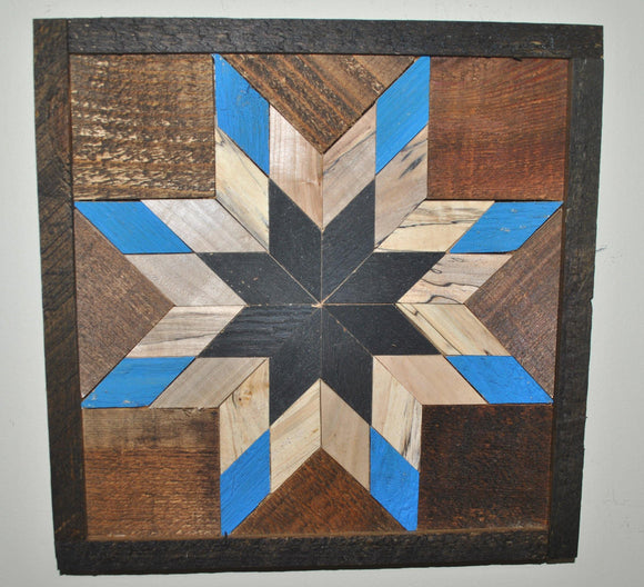 Amish Barn Quilt Wall Art, 1 by 1 Blue, Black, Wood tones Quilt Star