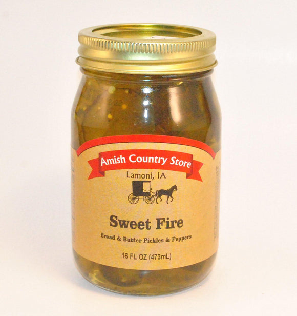 Sweet Fire Bread & Butter Pickles and Jalapenos 16 oz