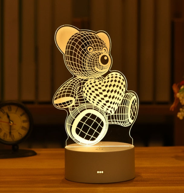 Valentine's Day Gift, 3D Lamp Acrylic LED Night Light - shipshopsave