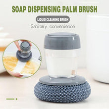 Load image into Gallery viewer, Liquid Soap Dispensing Dish Scrubber