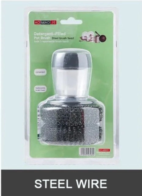 Liquid Soap Dispensing Dish Scrubber