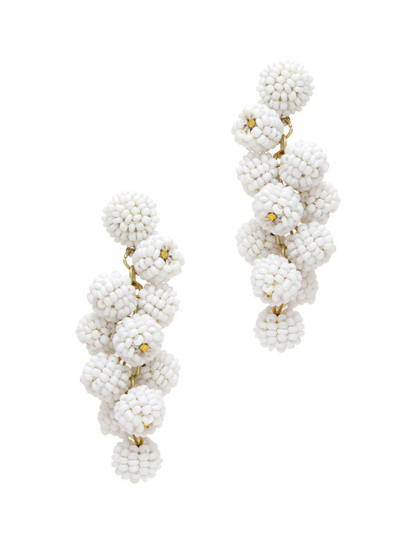White Grape Drop Earrings