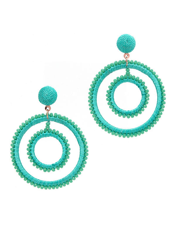 Turquoise Dangle Hoop Earrings
