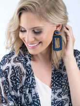 Load image into Gallery viewer, Navy Square Disc Earrings