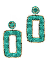 Load image into Gallery viewer, Turquoise Square Disc Earrings