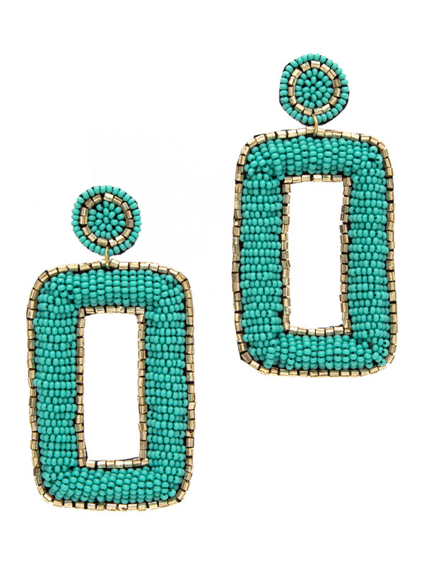 Turquoise Square Disc Earrings