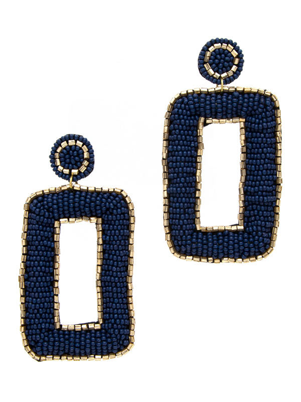 Navy Square Disc Earrings