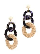 Load image into Gallery viewer, Black Fabric Link Earrings