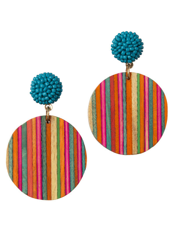 Colorful Wood Stripes Earrings