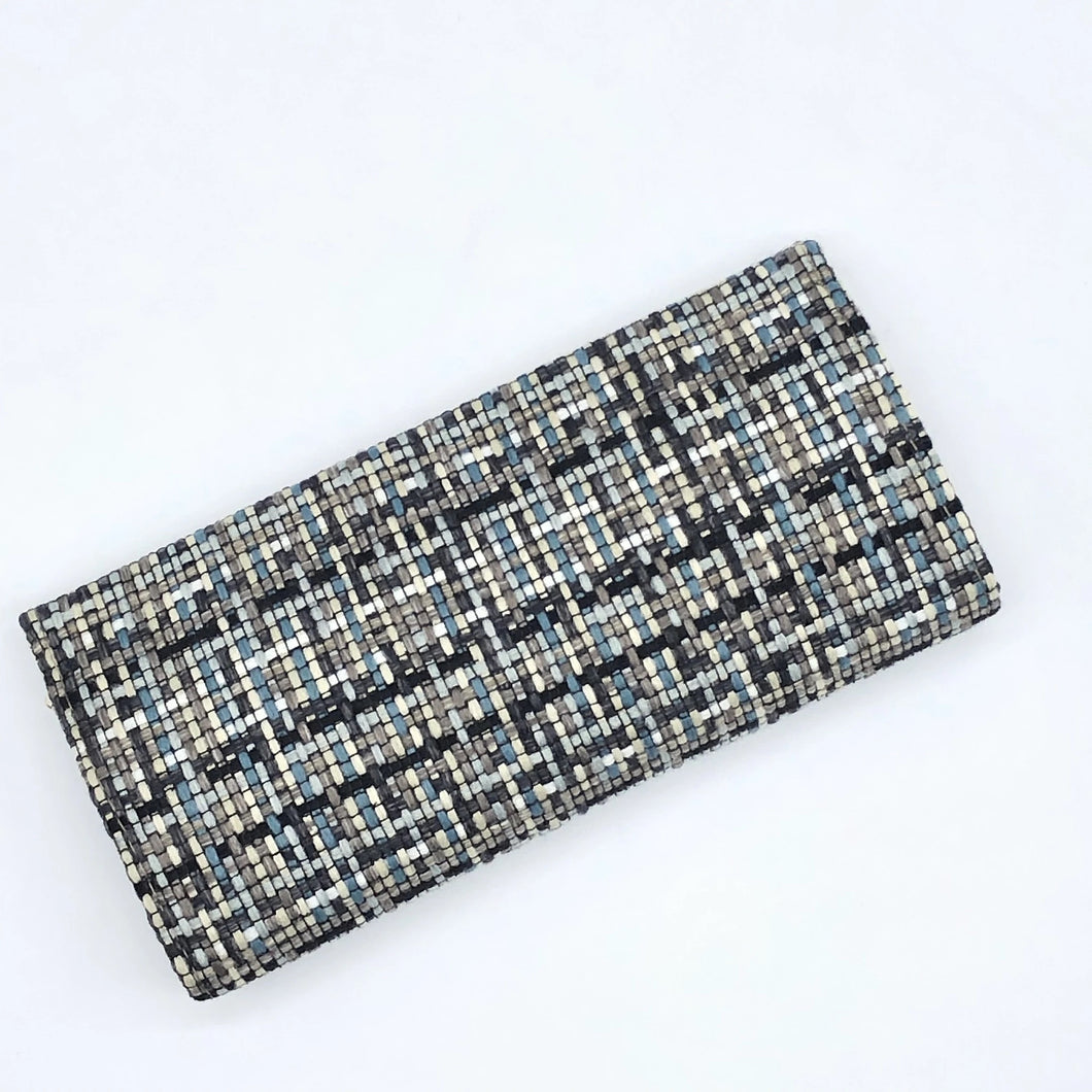 Teal Blue Woven Pinch Clutch Wallet