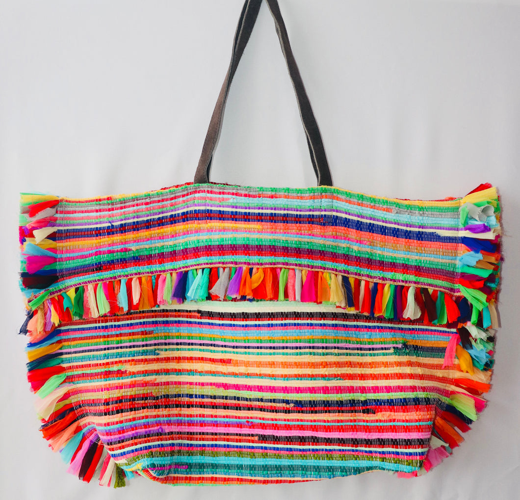Hand Woven Colorful Tote