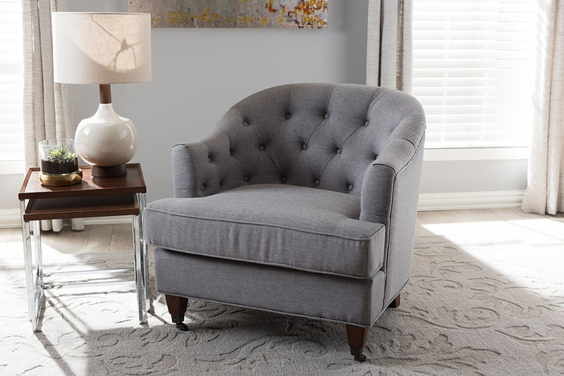 Jilian Light Grey Fabric Upholstered Walnut Wood Button-Tufted Armchair