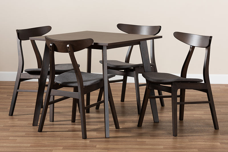 Arizona Dark Grey Fabric Upholstered Dark Oak Brown Finished 5pcs Wood Dining Set