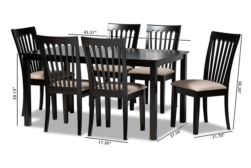 Chico Sand Fabric Upholstered Espresso Brown Finished Wood 7pcs Dining Set