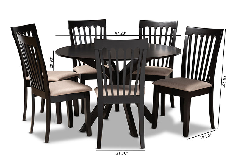 Scottsdale Sand Fabric Upholstered/Dark Brown Finished Wood 7pcs Dining Set