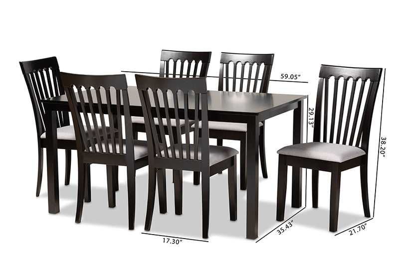 Chico Gray Fabric Upholstered/Espresso Brown Finished Wood 7pcs Dining Set