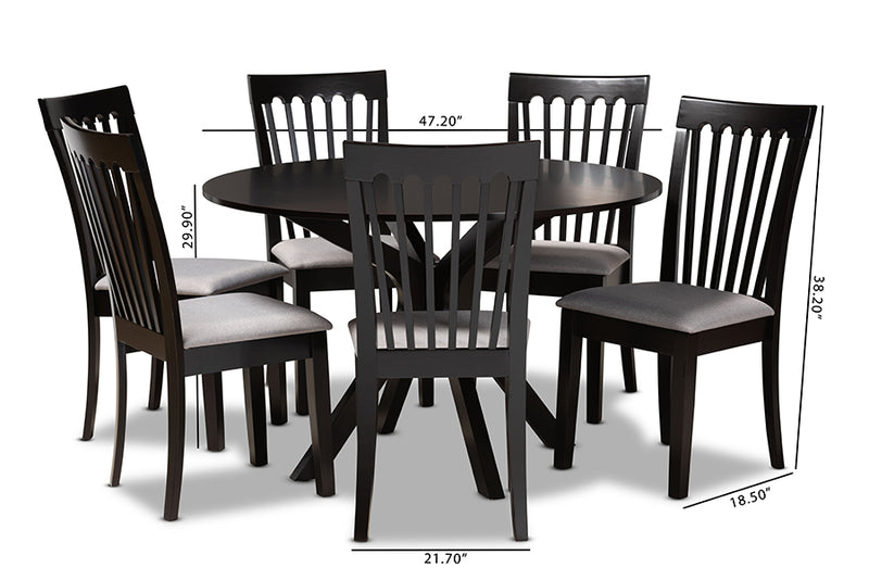 Scottsdale Grey Fabric Upholstered/Dark Brown Finished Wood 7pcs Dining Set