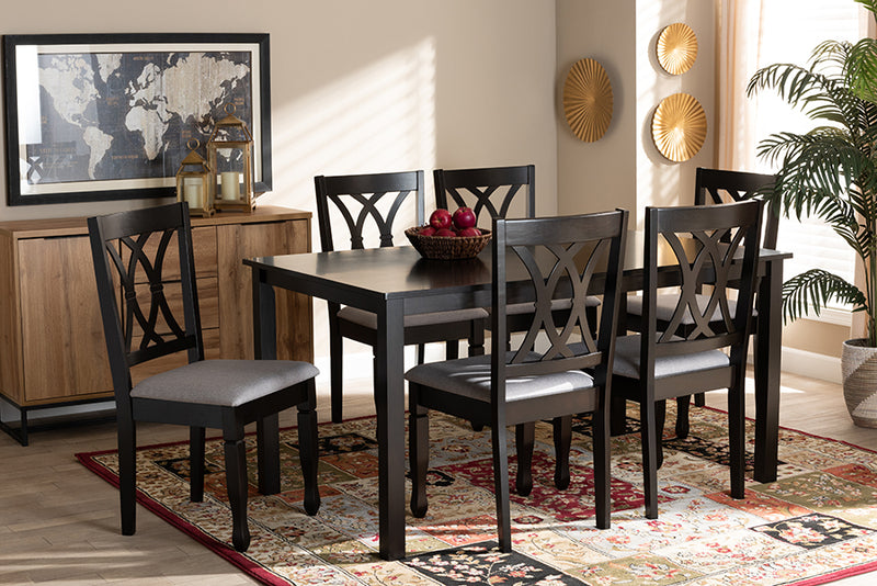 Brea Grey Fabric Upholstered Espresso Brown Finished Wood 7pcs Dining Set
