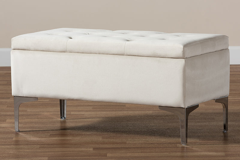 Keswick Beige Velvet Fabric Upholstered Silver Finished Storage Ottoman
