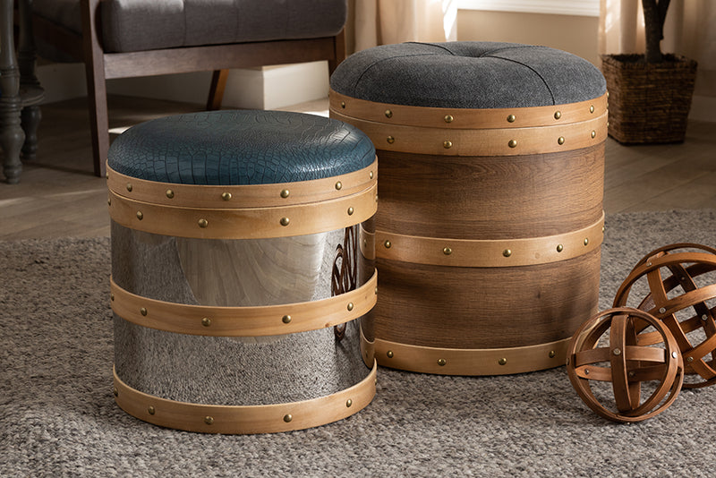 Adelaide Glam Grey Fabric/Blue Alligator Faux Leather Upholstered 2-Piece Wood/Metal Storage Ottoman Set