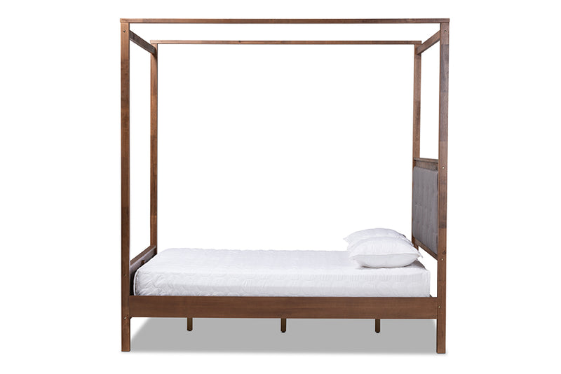Gianna Gray Fabric and Walnut Brown Wood Platform Canopy Bed (Queen)