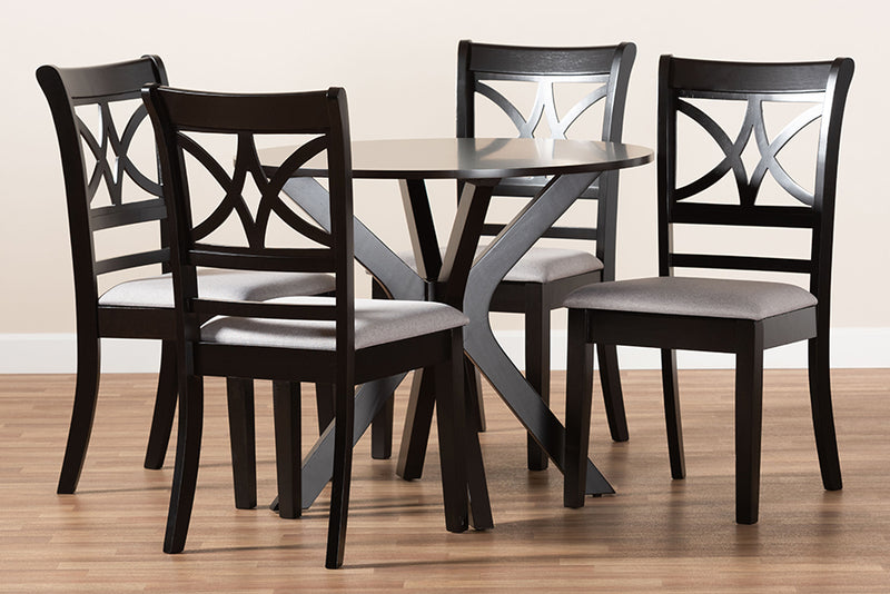 Glendale Grey Fabric Upholstered/Dark Brown Finished Wood 5pcs Dining Set