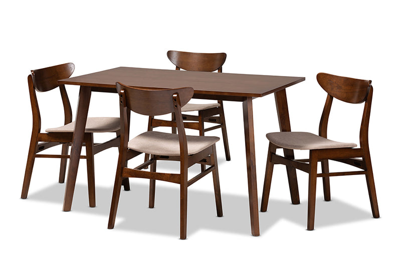 Camden Light Beige Fabric Upholstered/Walnut Brown Finished Wood 5pcs Dining Set, Rectangular Table top