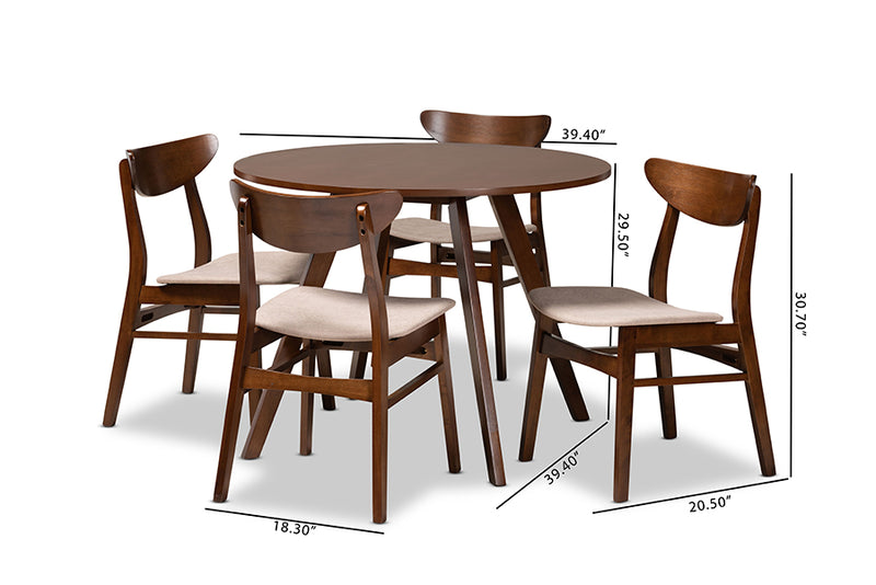 Camden Light Beige Fabric Upholstered/Walnut Brown Finished Wood 5pcs Dining Set, Round Table top