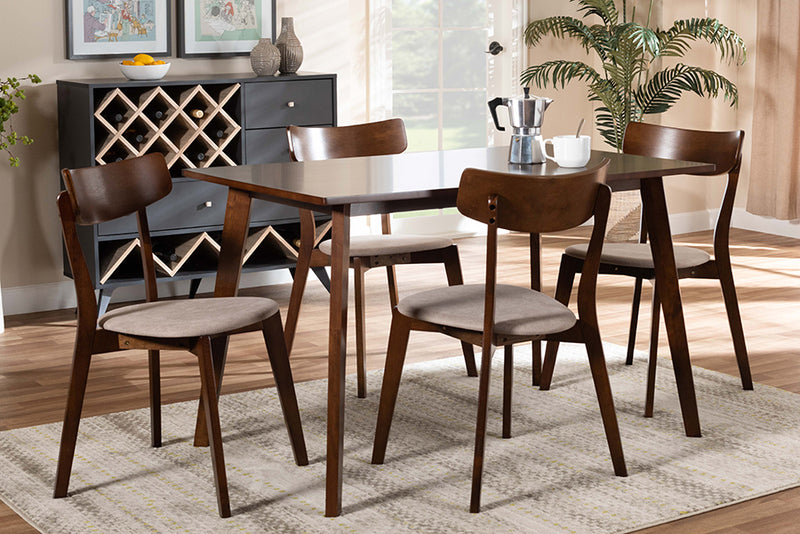 Clifton Light Beige Fabric Upholstered/Walnut Brown Finished Wood 5pcs Dining Set, Rectangular Table top