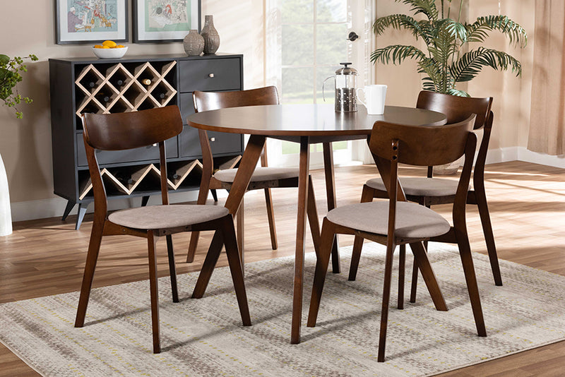 Clifton Light Beige Fabric Upholstered/Walnut Brown Finished Wood 5pcs Dining Set, Round Table top