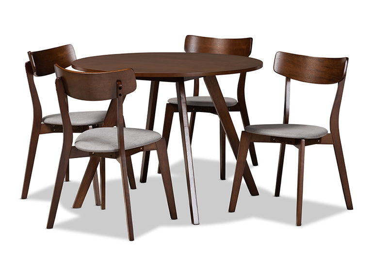 Clifton Light Grey Fabric Upholstered/Walnut Brown Finished Wood 5pcs Dining Set, Round Table top