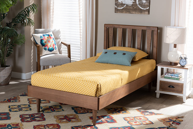 Durham Walnut Brown Finished Wood Platform Bed (Twin)
