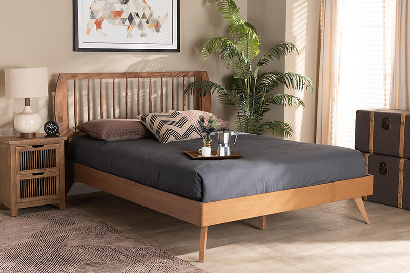 Nantes Walnut Brown Finished Wood Platform Bed (King)