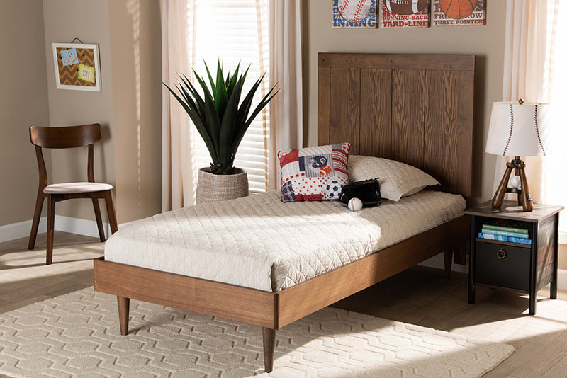 Preston Ash Walnut Finished Wood Platform Bed (Twin)